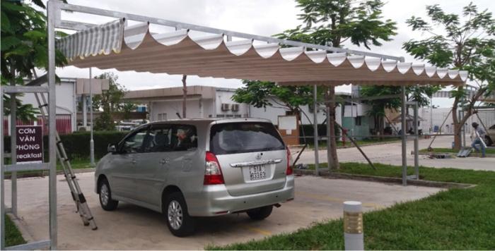 mái che xếp nhà để xe
